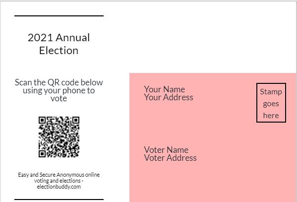 Sample QR code on ElectionBuddy postcard.